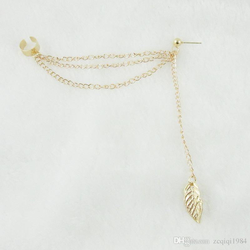 Yenilik yapraklar küpe Uzun püsküller kulak klip Gümüş Altın Renk saplama küpe kadınlar hediye Takı için ücretsiz dhl