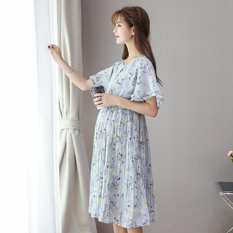 c370584ea3f6f 2019 Maternity Dress Summer Chiffon With Cottton Material Printed Flowers  Women Clothes Lace With Ruffle Knee Length Dress For Pregnant From  Miaosen2, ...