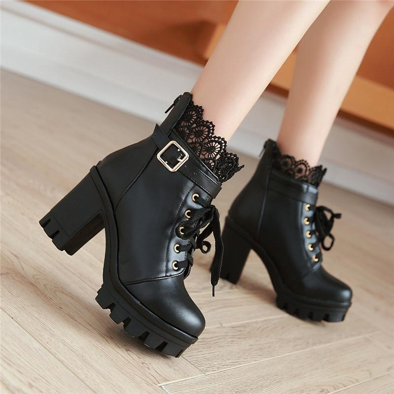 1a18eb3b969 YMECHIC Autumn Ladies Punk Black White Cross Tied Block Heel Shoes Lace Goth  Buckle Strap Chunky Heels Motorcycle Ankle Boots Military Boots Walking  Boots ...