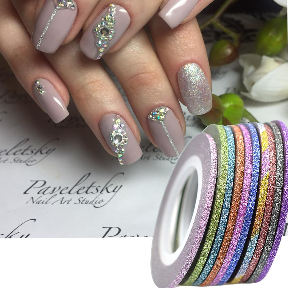1rolls 2mm Nail Art New Laser Stripes Tape Line With Glitter Powder