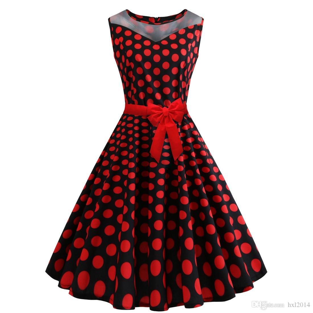 7b50acc17 Ropa de mujer 2019 Moda de verano tallas grandes Vestidos casuales rojos  para mujer Polka Dot Imprimir sin mangas vestido vintage falda expansión