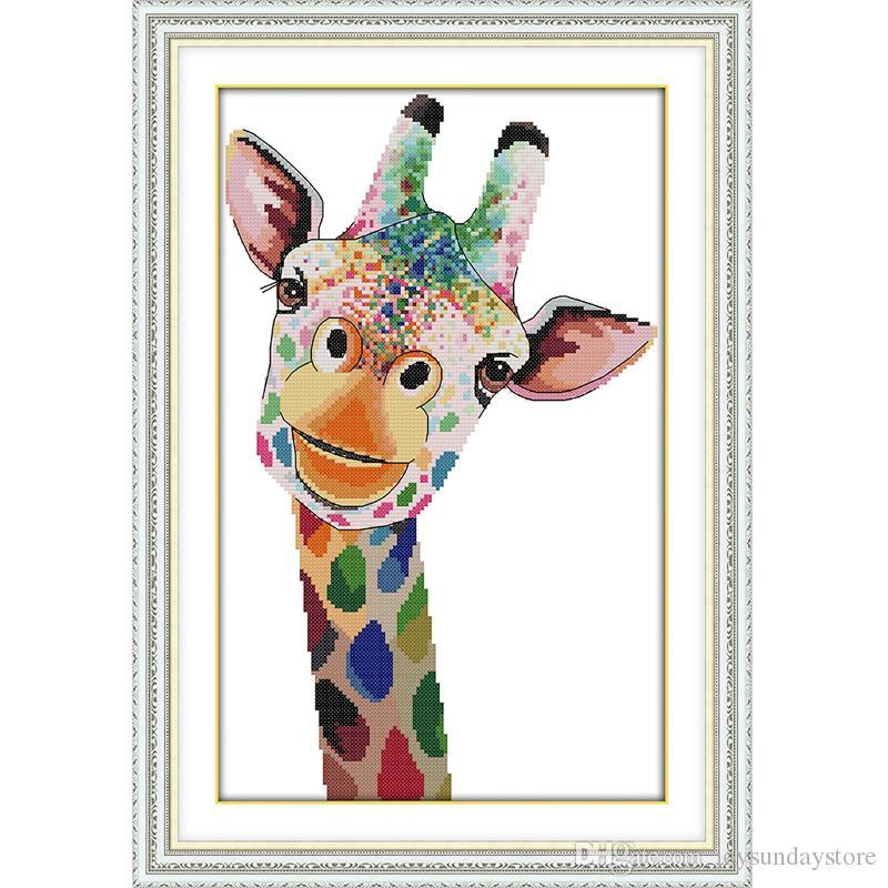 A girafa lona dmc 11ct 14ct contados kits de ponto cruz chinesa diy handwork impresso ponto cruz para bordado home decor needlework