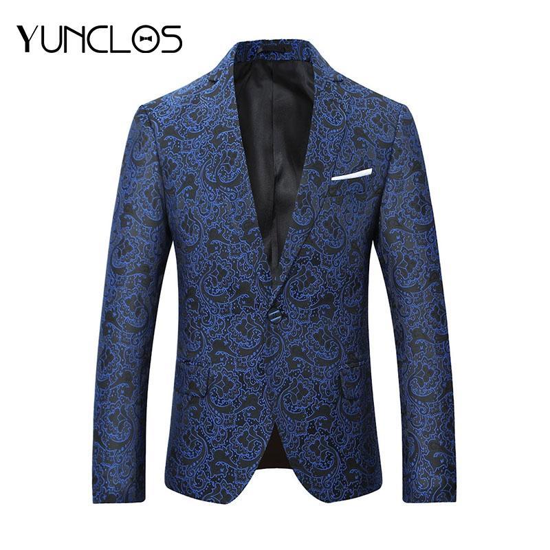 de358c44b797 2019 YUNCLOS 2018 Latest Design Men Jacquard Suit Blazer One Button Slim  Fit Men Wedding Party Suit Jacket Plus Size Blazer 5XL From Lotustoot