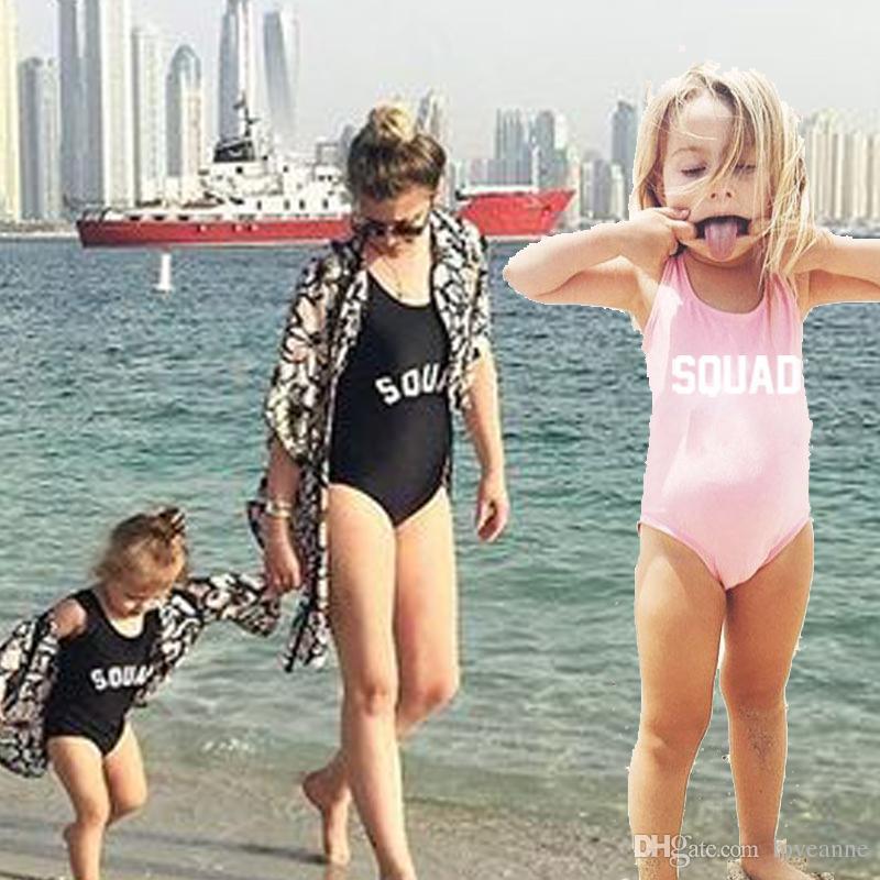 Famille Sexy Bilkini SQUAD Lettre Impression One Piece Maillot De Bain Push Up Bikini Gilrs Beach Wear Mère Et Fille Vêtements
