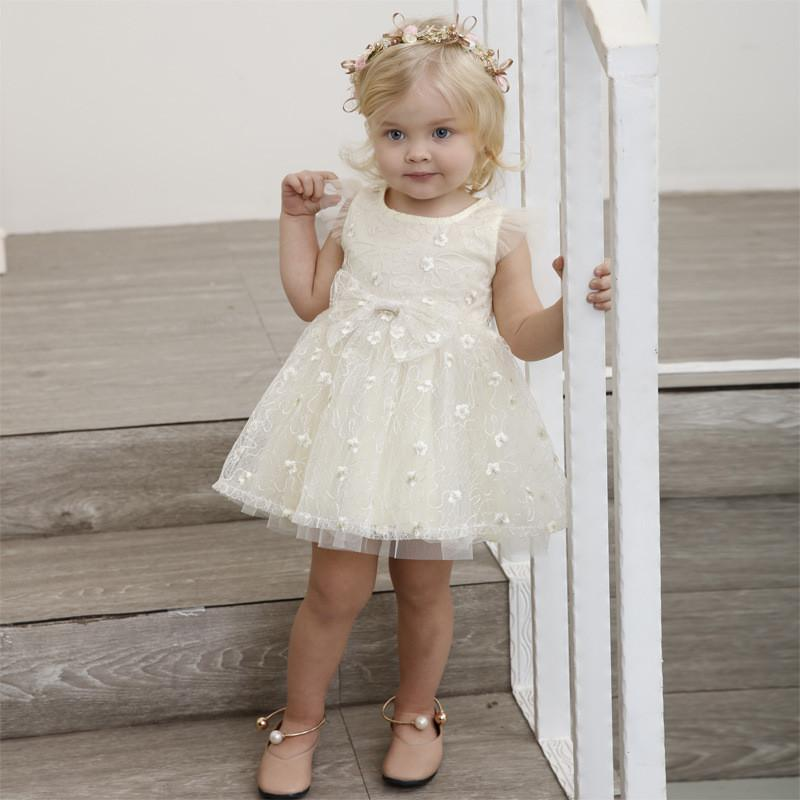 7962f0982000a 2018 Girls Summer Princess Dress Kids Embroidery Lace Tutu Dress Baby  Birthday Party Clothes Sleeveless Lace Wedding Party Dress 1-6year