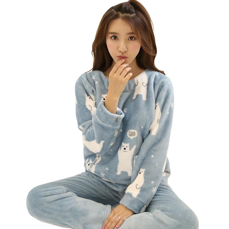 2019 Autumn Winter Warm Cute Flannel Sleep Home Clothing Women Pajamas Sets  Long Sleeve Cartoon Sleepwear Suits Female Pyjamas Pajama D18110502 From ... 165f15c5d