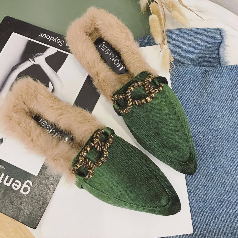 e70a2299d Brand Metal Buckle Fur Sandals Women Pointed Toe Flock Slippers 2018 Autumn  Winter Slides Shoes Woman Fur Flip Flops Y427 Wedges Shoes Leather Boots  From ...