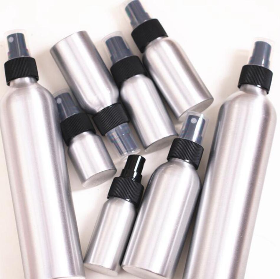 30ml 120ml Esvaziar alumínio metal spray atomizador de garrafa spray recarregáveis Preto Bomba Atomizador Para Cosmetic Packaging Ferramenta OOA4926