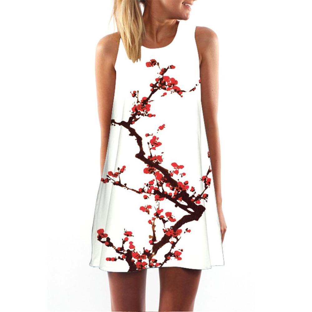 290b0b9a27a3 2019 2018 Summer Dress Women Floral Print Chiffon Dress Sleeveless Boho  Style Short Beach Sundress Casual Shift Dresses Vestido From Glorying