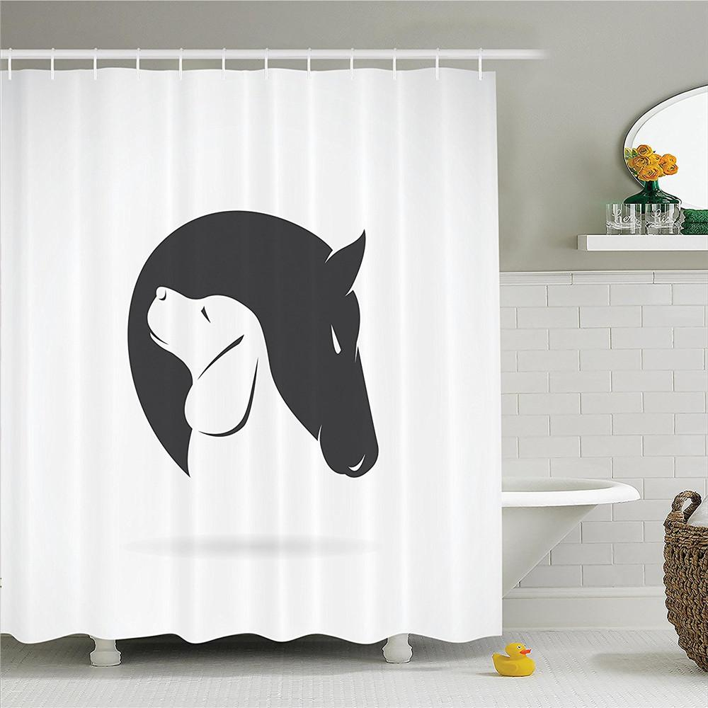 Animal Decor Shower Curtain Set Contemporary Illustration Of A Dog And Horse Hugging Loyal Friend Icon Heads Artsy Print Curtains Cheap