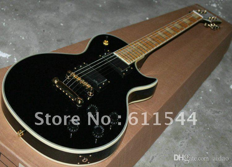 Black Beauty Custom 2 Pickups Maple Fingerboard Electric Guitar Best