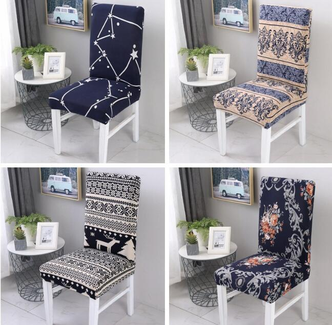 Spandex Elastic Printing Dining Chair Cover Removable Anti-dirty Kitchen Seat Case Stretch Chair Cover for Banquet