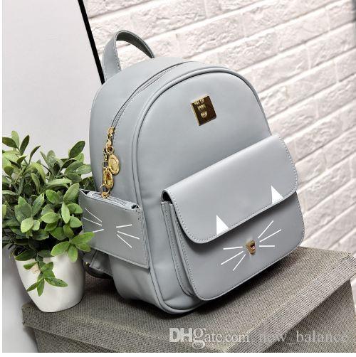 Hot Sale Cat Printing Backpack PU Leather Mini Backpacks Women School Bags  For Teenage Girls Bags Children Backpack Mochilas Sac Dakine Backpack Best  ... 81ae33cbed33a