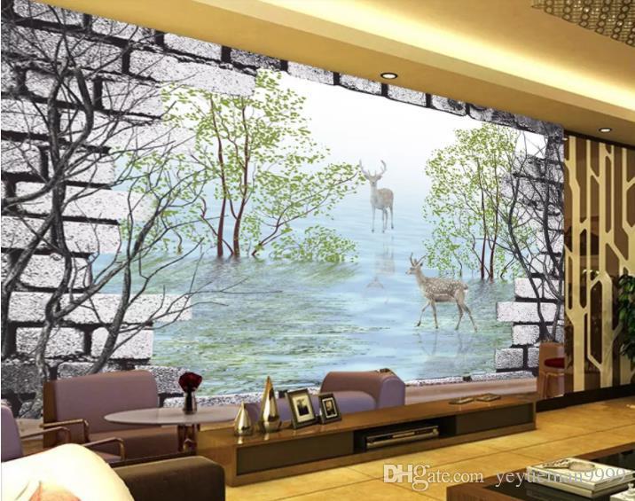 Acheter Photo Papier Peint Papier Peint Bois Woods Sika Cerf Murs De