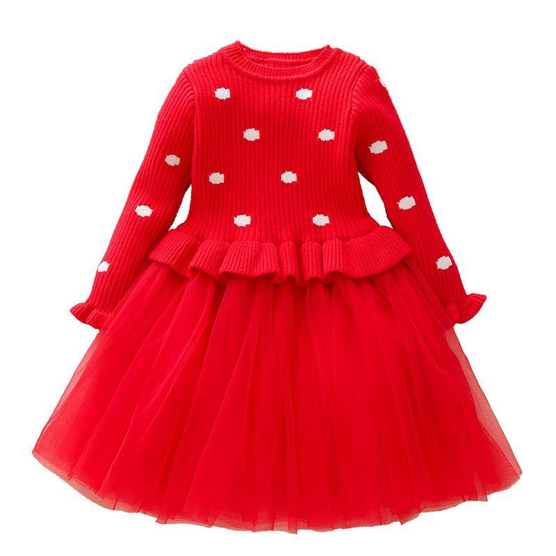 07b255be0 2019 Cute Little Girls Christmas Dress Girls Winter Autumn Long Sleeve Dots  Mesh Knit Sweater Princess Dress Baby Girl Clothes From Ferdimand, ...