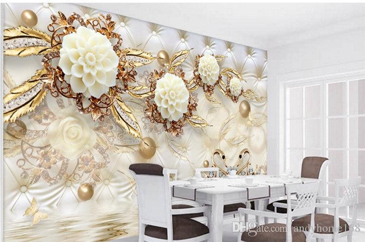 Arkadi 5d Duvar Paneli Duvar Kağıdı Mermer Elmas Takı Gül Arka Plan Modern Avrupa Sanat Mural Oturma Odası Büyük Resim Ev Dekor için