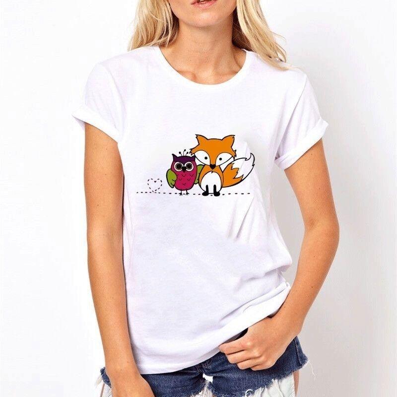 Compre Melhores Amigos Coruja Fox Mulheres Verão Camiseta Feminina Impresso  Lo Personalizado De Alta Qualidade Tops Tee Senhoras Padrão De Algodão 3d  ... b1316be3567