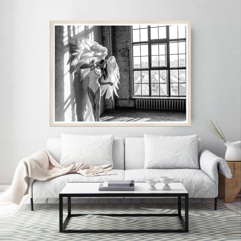 Stampe per finestra in bianco e nero Poster di angeli Poster per fotografia  nordica Quadri per quadri moderni per soggiorno