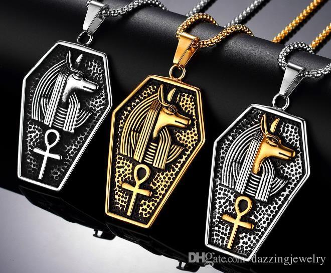 Collana religioso retro argento antico nero dell'acciaio inossidabile degli uomini antico Anubis faraone egiziano copto L'Ankh Croce