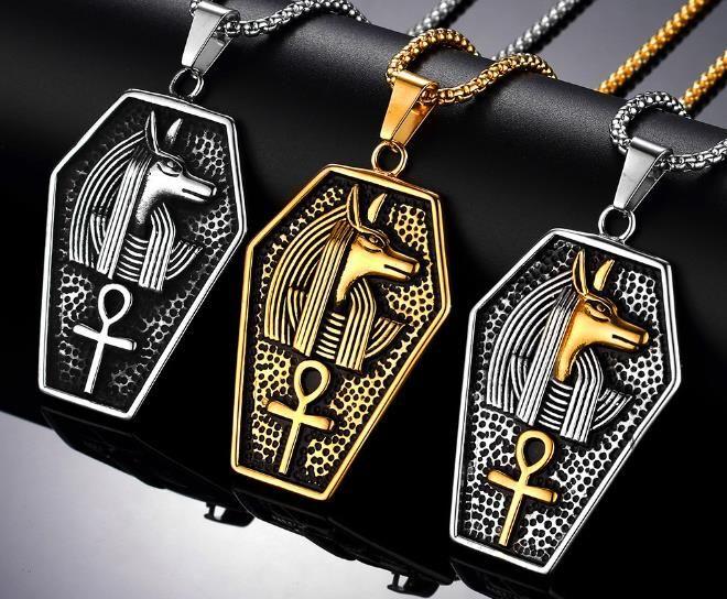 946792c6842c Compre Retro Plata Antigua De Oro Negro Hombres De Acero Inoxidable Antiguo  Egipcio Faraón Copto Ankh Cruz Colgante Religioso Collar A  3.22 Del ...
