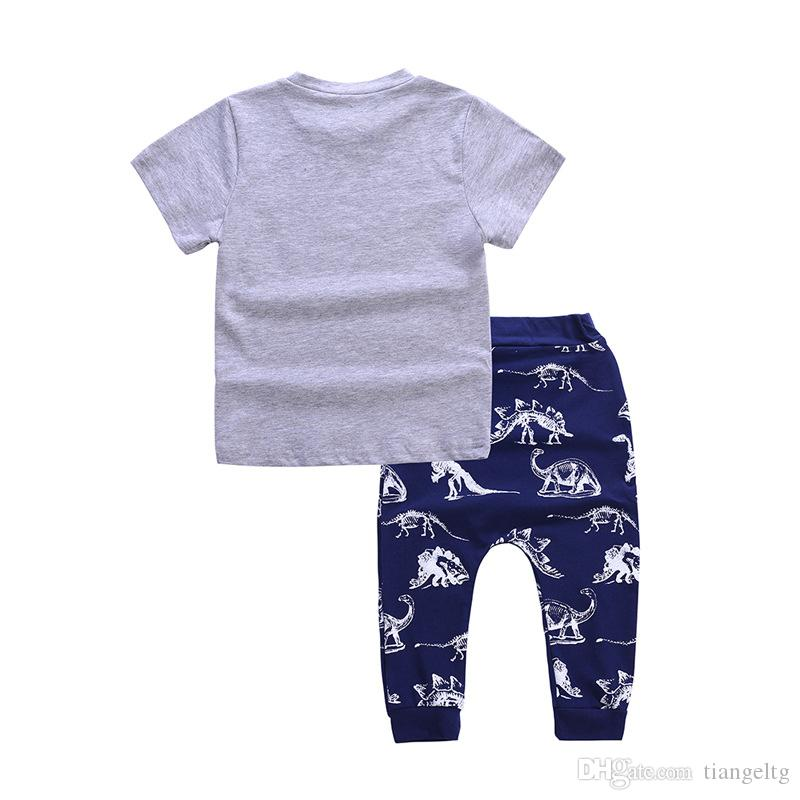 Boys DINOSAUR T-shirt Pants Two-piece Clothing Sets Short Sleeve Dinosaur Shirt Dinosaur Pants Kids Summer Outfits 2-6T