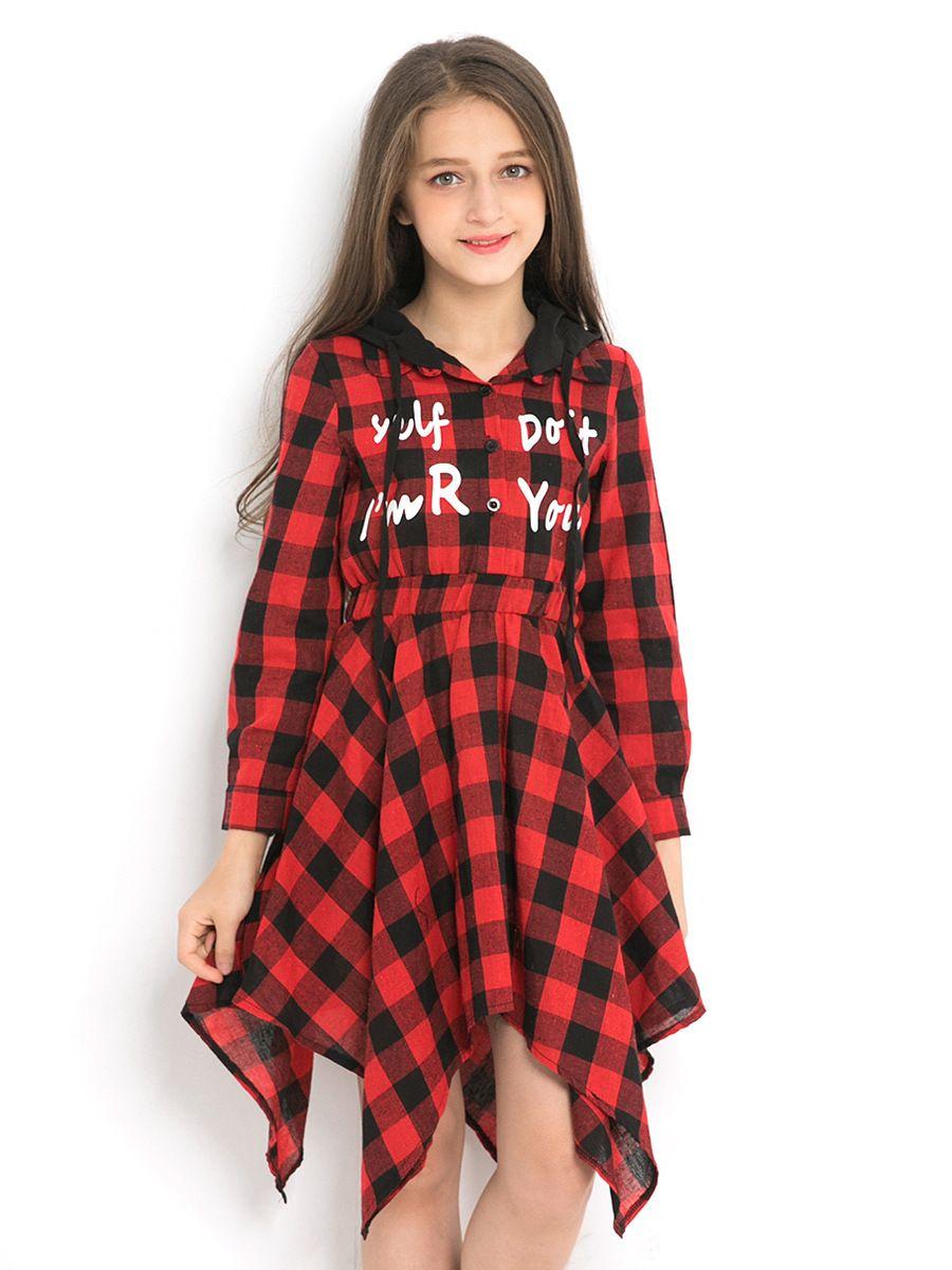 2018 christmas big girl plaid dresses kids clothing autumn teenager fashion letter dress junior hooded dress baby clothes from ywbaby 714 dhgatecom - Christmas Plaid Dress