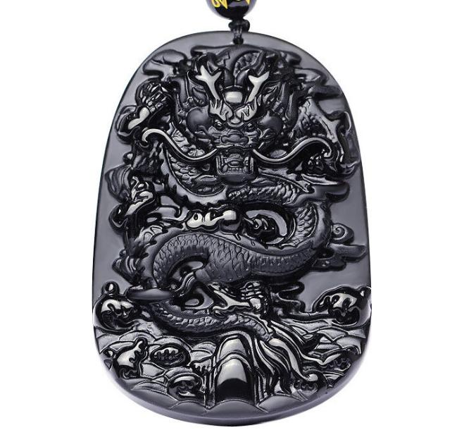 Natural Black Obsidian Pendant Necklace Jewelry Hand-carved Dragon ,Fine Gemstone Jewelry For Woman&man Gifts Drop Shipping