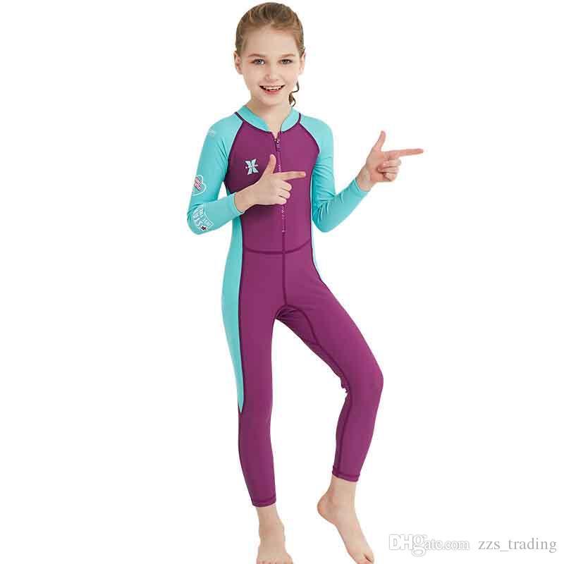 أحدث الأساليب ملابس السباحة للأطفال بأكمام طويلة سيامي بدلة غوص أشعة فوق البنفسجية مواد الغوص تصفح الملابس الدافئة الدعاوى الغوص للأطفال