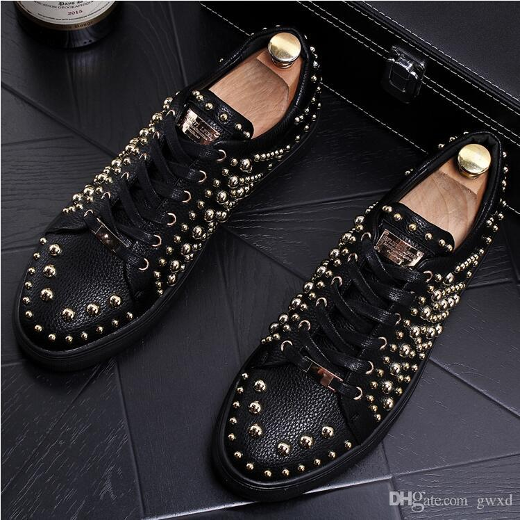 2018 New style European station show riveted fashionable style men's leather shoes individuality loafers club hair stylist plate shoes J59