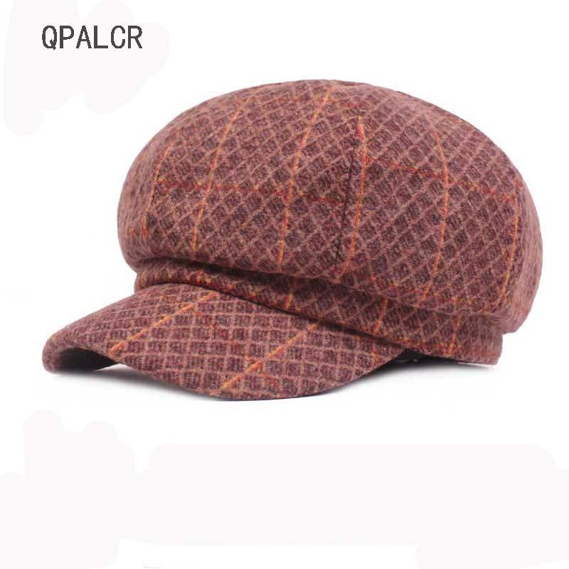 Großhandel Qpalcr Retro Achteckige Caps Fashion Plaid Zeitungsjunge ...