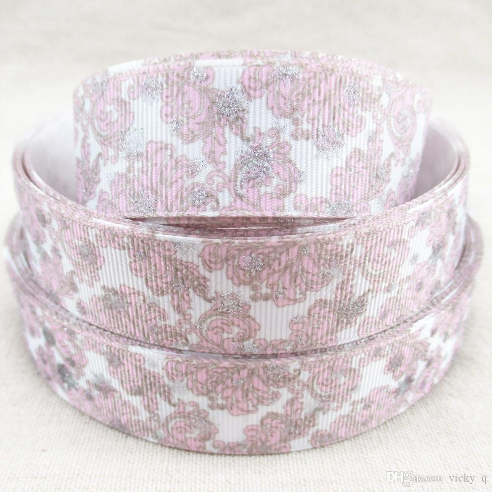 Grosshandel Breite 25mm Rosa Blume Gedruckt Ribbed Ribbon Mit Glitter