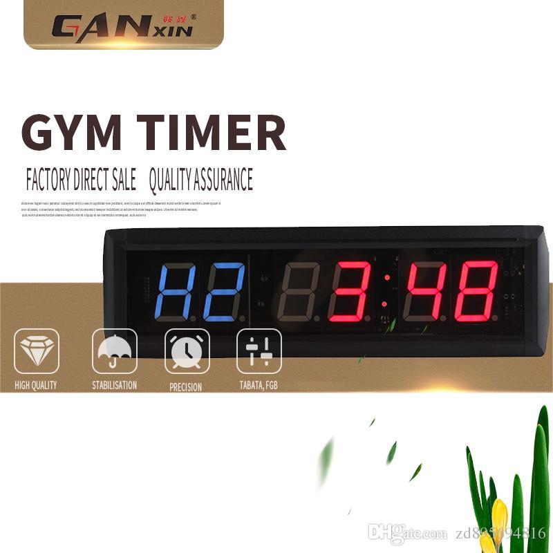 f02922d2e8a Compre GANXIN 1.8    6Digits LED Relógio De Parede CONDUZIU A Contagem  Regressiva Intervalo Relógio Temporizador De Treino Para A Garagem Ginásio  Em Casa ...