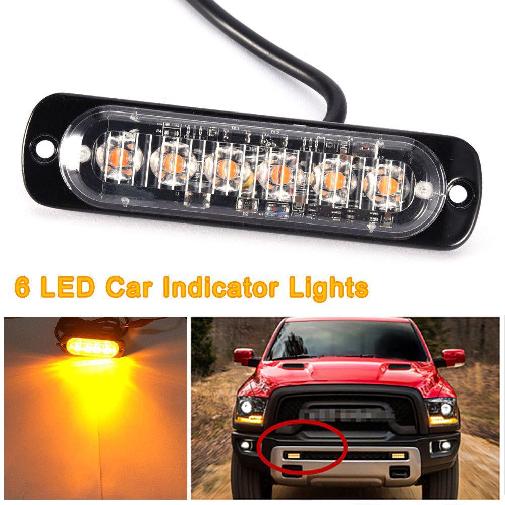 2Pcs High Quality 6 LED Car Truck Van Side Strobe Light Warning Flasher  Caution Emergency Construction Super Bright White Yellow