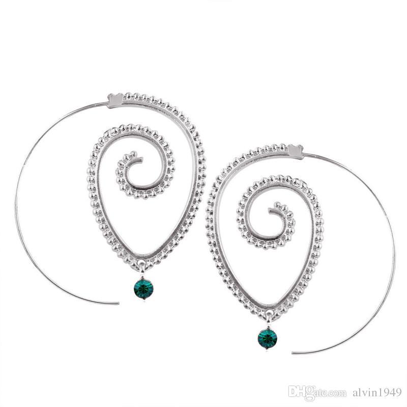Women Earrings Hyperbole Gear Dangle Earrings Gold Silver Color Spiral Type Alloy Earrings Fashion Jewelry Holiday Gift