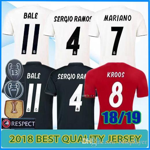 Calidad Tailandesa 2018 2019 Fútbol De Real Madrid JERSEY Mariano ISCO  KROOS RAMOS 13 Finales De La Liga De Campeones 17 18 Camisetas De Fútbol  Por ... f75936fd30329