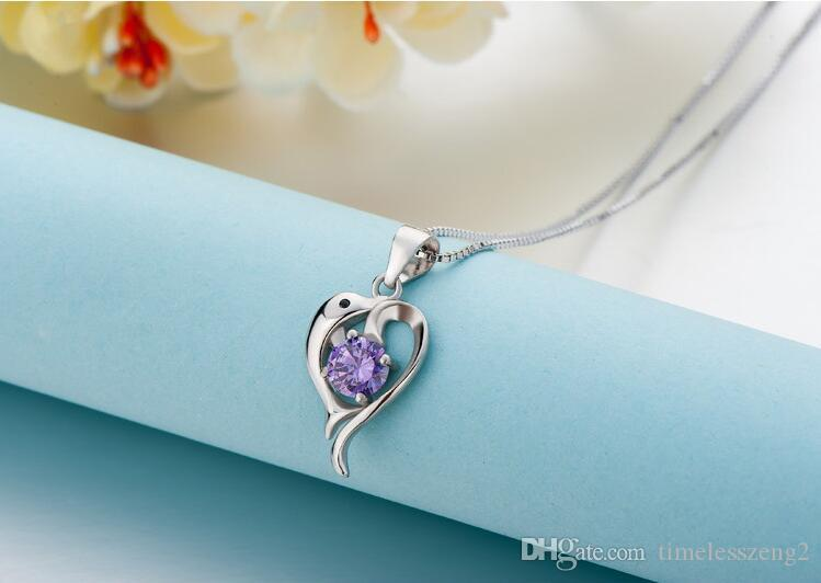 1PCS Exquisite Korean style dolphins love necklace 925 pure silvery nacklace with diamond pendant collarbone chain in box birthday nice gift