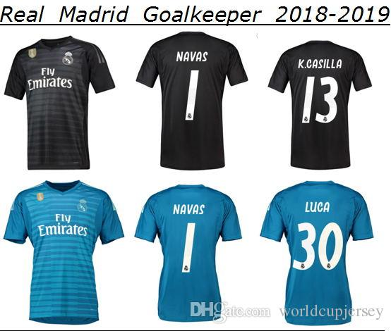 Compre 2018 Real Madrid Goleiro Camisa De Futebol Jersey NAVAS CASTELA  COURTOIS LUCA 2018 2019 Preto Azul Real Madrid Longe De Casa Camisa Maillot  Futo De ... 421a53a4c2a08