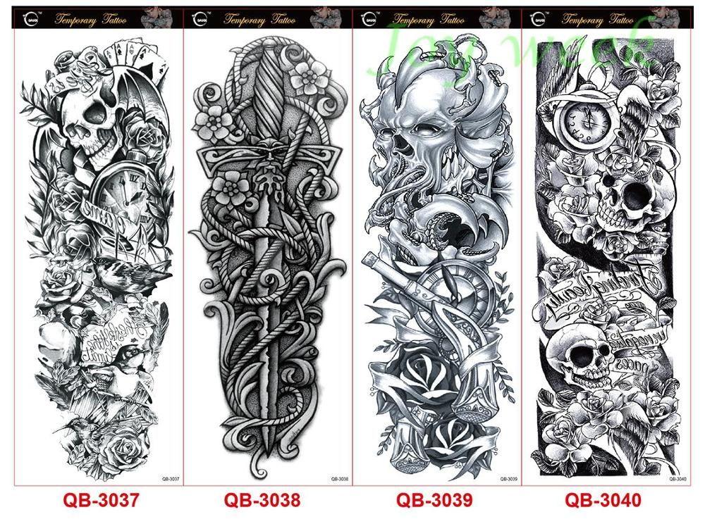 Etiqueta Do Tatuagem Temporária à prova d 'água braço cheio tamanho grande old school tatto manga flash tatoo tatuagens falsas para mulheres dos homens menina