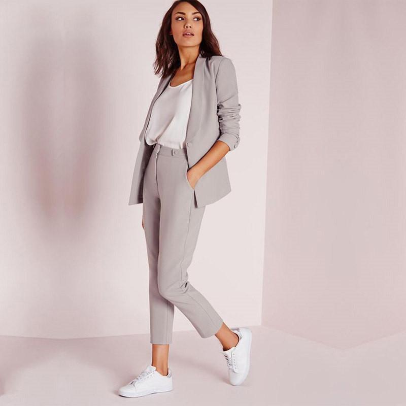 9 Mujer Negocios Claro Trajes Esmoquin 2 Oficina Compre A Pantalones Formal Uniforme Puntos Para De Piezas Gris Pantalón qBfF7