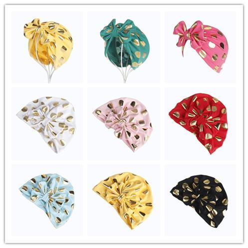 Nouveau-né Bébé Garçons Filles Or Polka Dot Cap Enfants Bonnets Bowknot Enfants Turban Inde chapeaux Photo Props