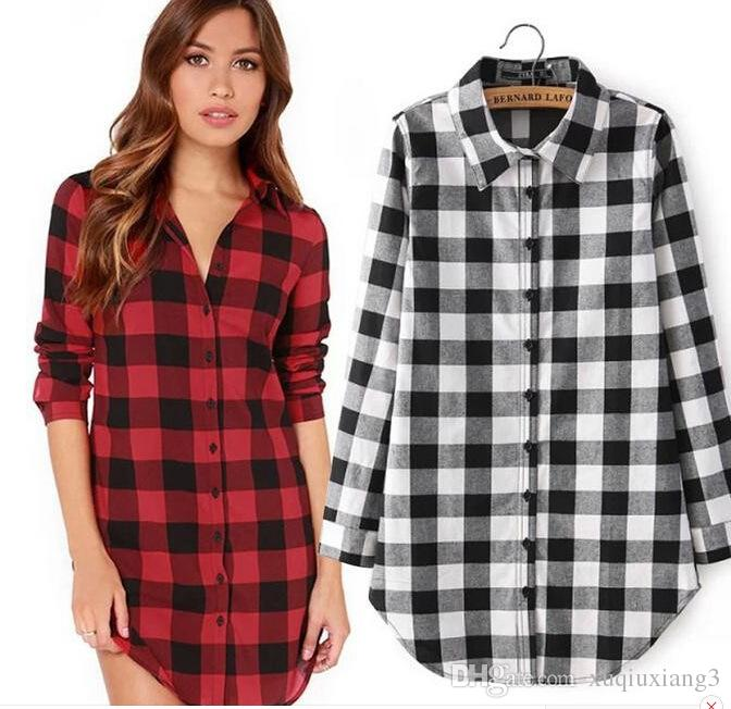 01f57d0ed45b87 2019 2018 New Checkered Plaid Blouses Shirt Cage Female Long Sleeve Casual  Slim Women Plus Size Shirt Office Lady Tops From Xuqiuxiang3