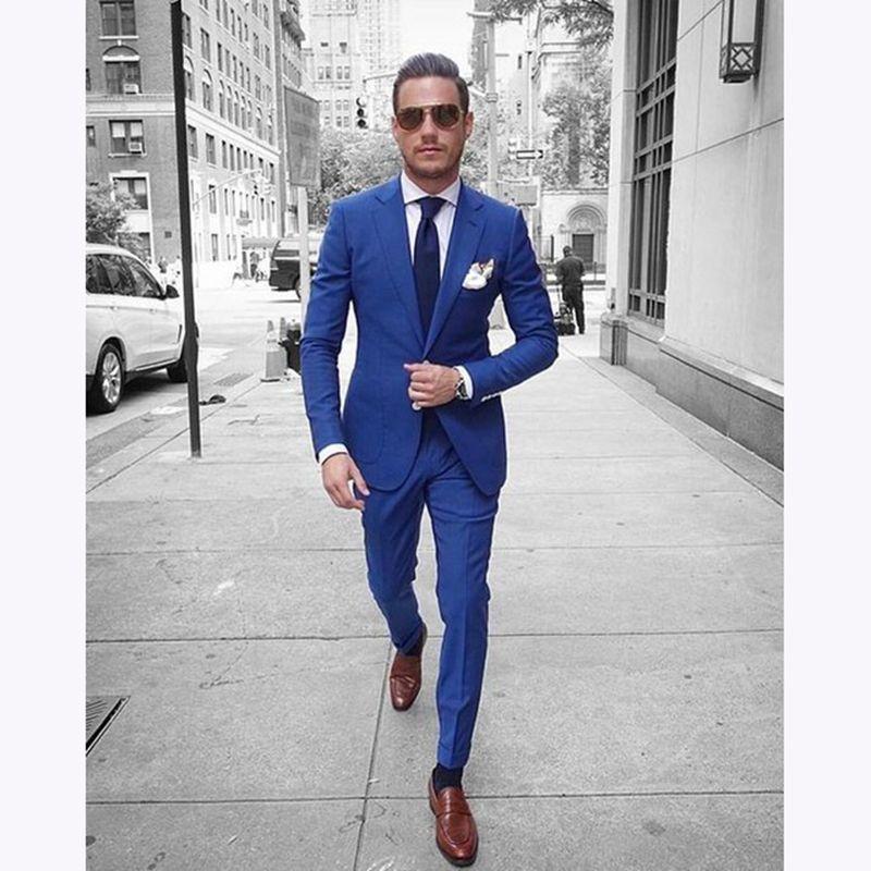 Compre Elegantes Trajes De Boda Para Hombre 2018 Por Encargo 2 Piezas Royal  Blue Casual Traje De Hombre Slim Fit Novio Padrino De Boda Blazer Trajes  Para ... 7b8c9c6ba83