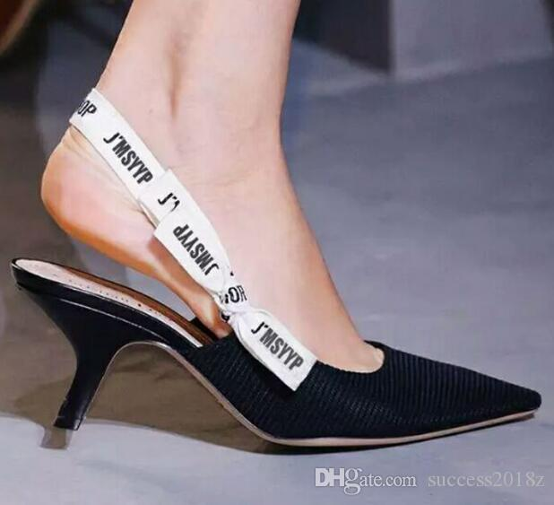 c0434add46e7 Hot 2018 Letter Bow Knot High Heel Shoes Women Runway Pointed Toe Low Heel  Shoes Woman Gladiaor Sandals Lady Brand Design Mesh Flat Shoes Shoe Sale  Shoes Uk ...