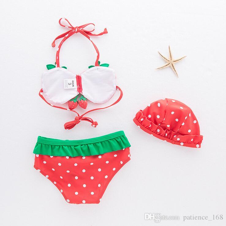 maillot de bain pour enfants 2018 INS nouveaux arrivants vente chaude fille enfants maillot de bain styles été fraise bikini + short + bonnet de bain filles maillot de bain mignon