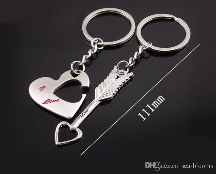 زوجين أحبك رسالة المفاتيح القلب مفتاح الطوق فضي كيوبيد السهم زوجين كيرينغ عشاق الحب مفتاح سلسلة هدايا تذكارية D525L