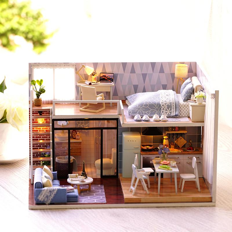 Diy Doll House Wooden Miniature Dollhouse Furniture Kit Toys With The Led Light And Small Lamp Great Gift For Children