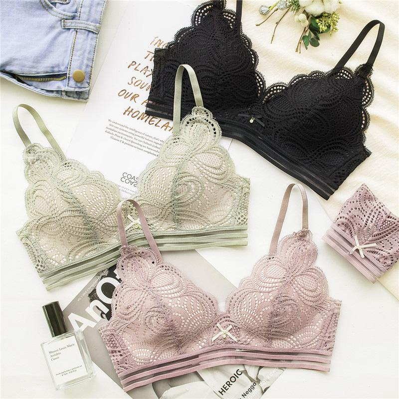 2019 Women S Sexy Ultra Thin Push Up Underwear Wire Free Floral Lace Bra  Sets Yw266 From Yukime d11d85bac