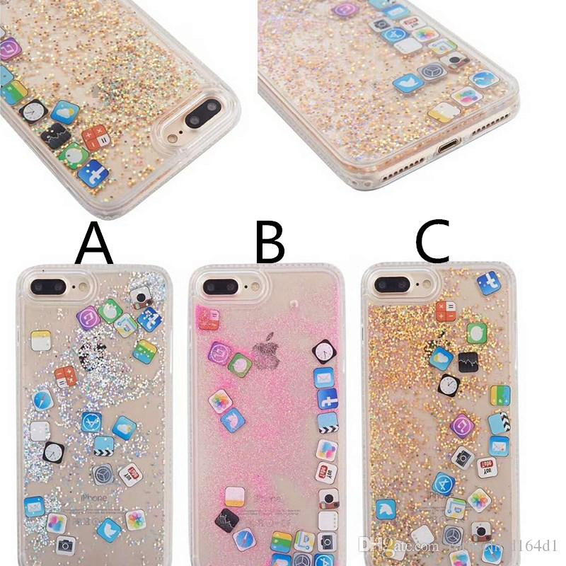 low priced 5bbd2 7964f Liquid Quicksand Phone Case For iPhone X 7 8 Plus Icon APP PC hard soft TPU  Glitter Case Cover For iPhone 6 6s 7 8 plus