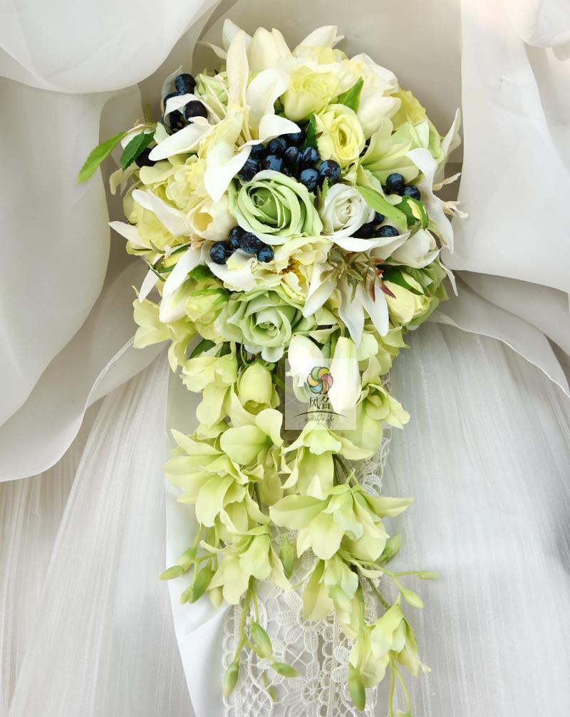 Best Waterfall Style Handmade Wedding Bridal Bouquet Green
