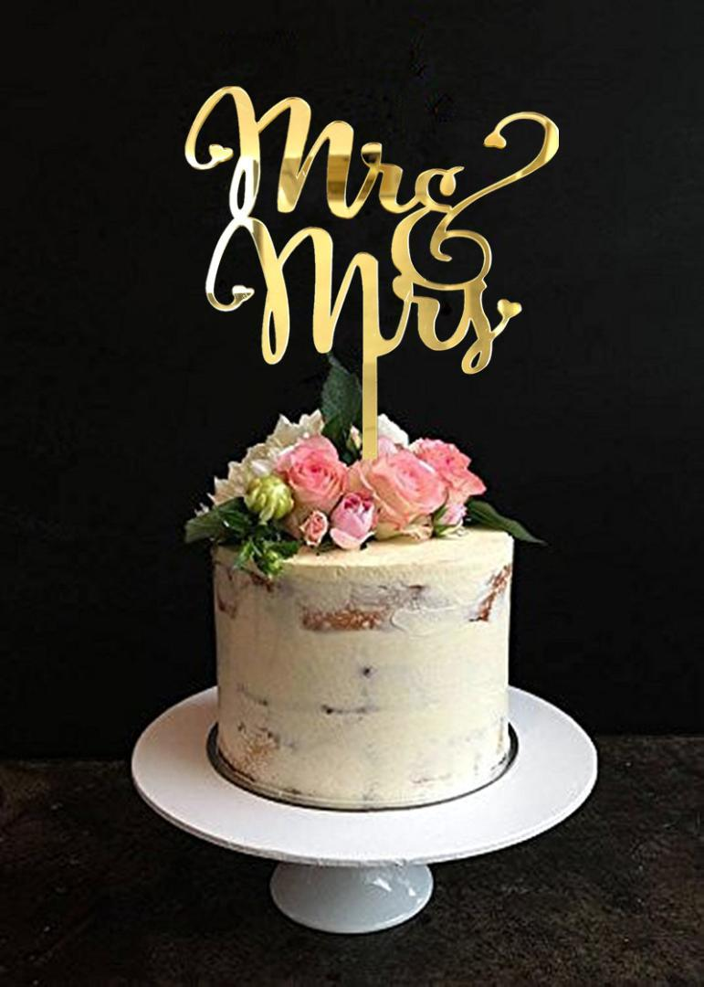2019 Mirror Gold Mr & Mrs Wedding Cake Topper ,Topper For Wedding